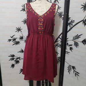 MY MICHELLE V-Neck Maroon Sleeveless Dress sz L